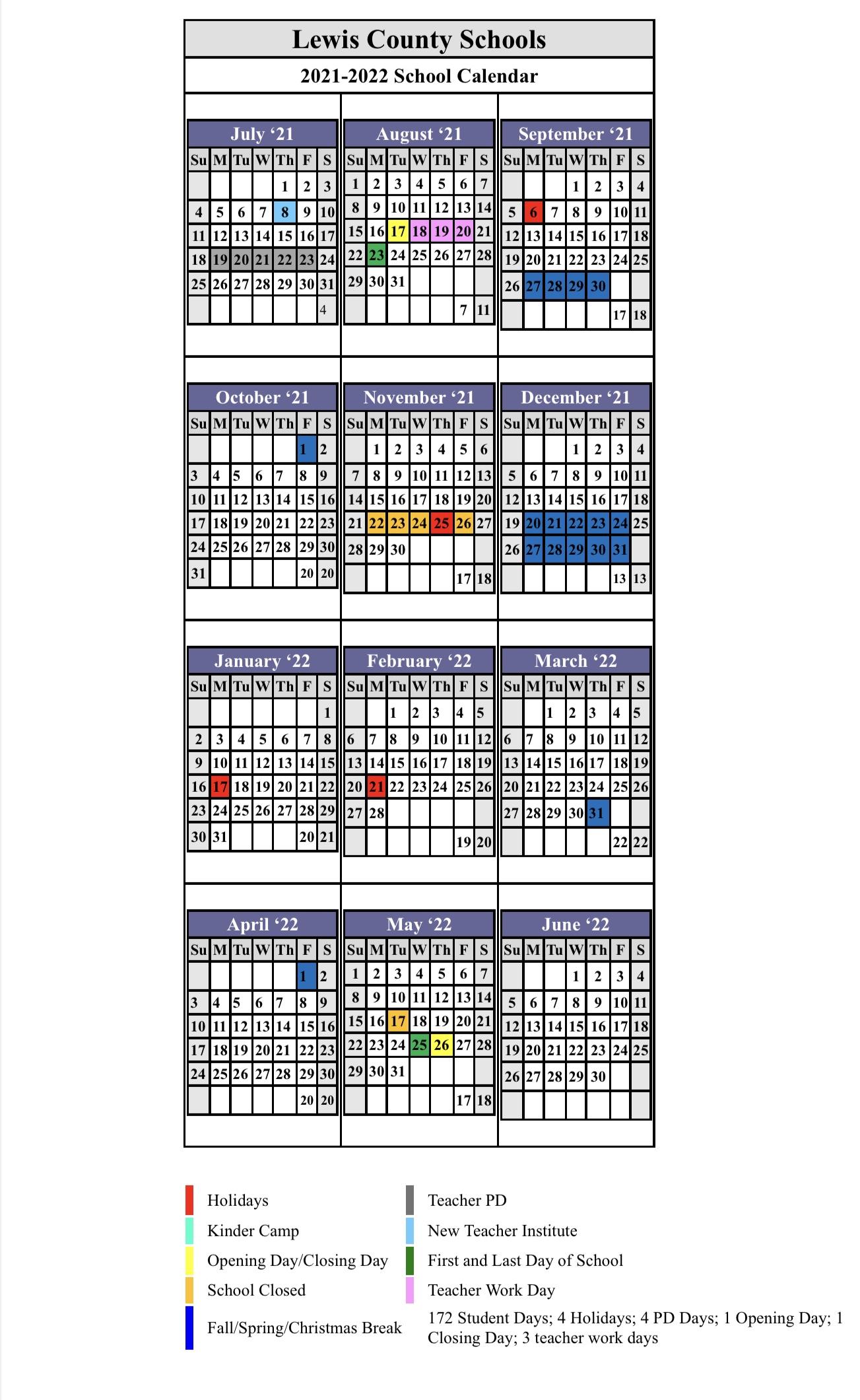 2021-22 Calendar